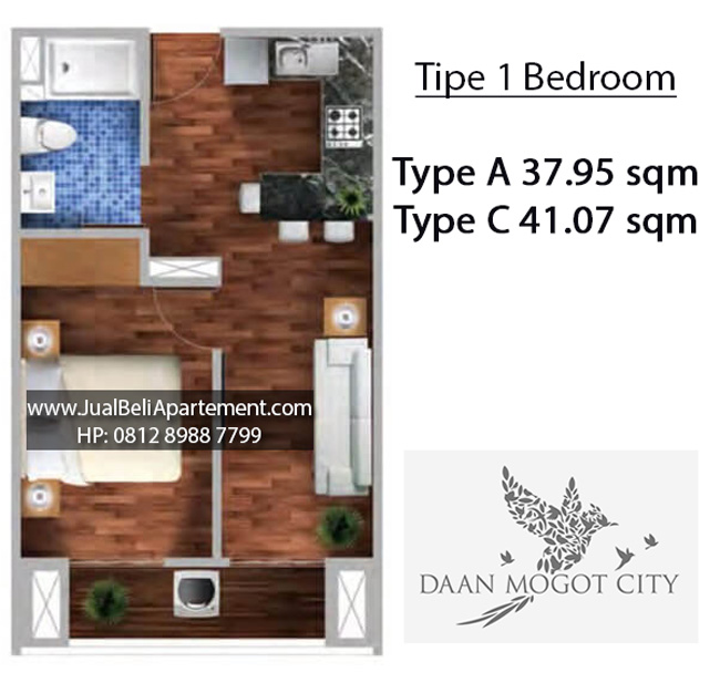 tipe-1-bedroom-daan-mogot-city