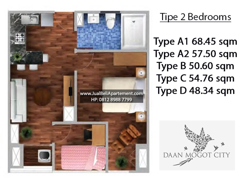 tipe-2-bedroom-daan-mogot-city
